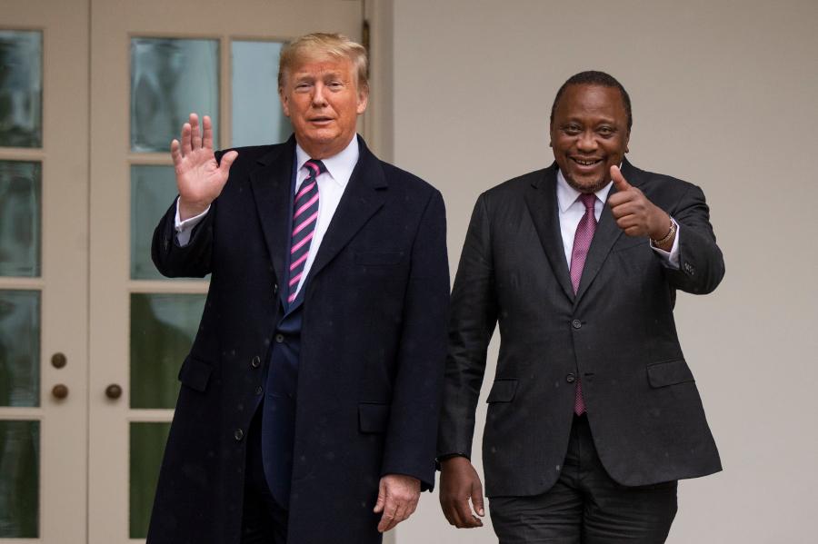 President Donald Trump welcomes Kenyan President Uhuru Kenyatta at the White House, Thursday, Feb. 6, 2020, in Washington. (AP Photo/Manuel Balce Ceneta)